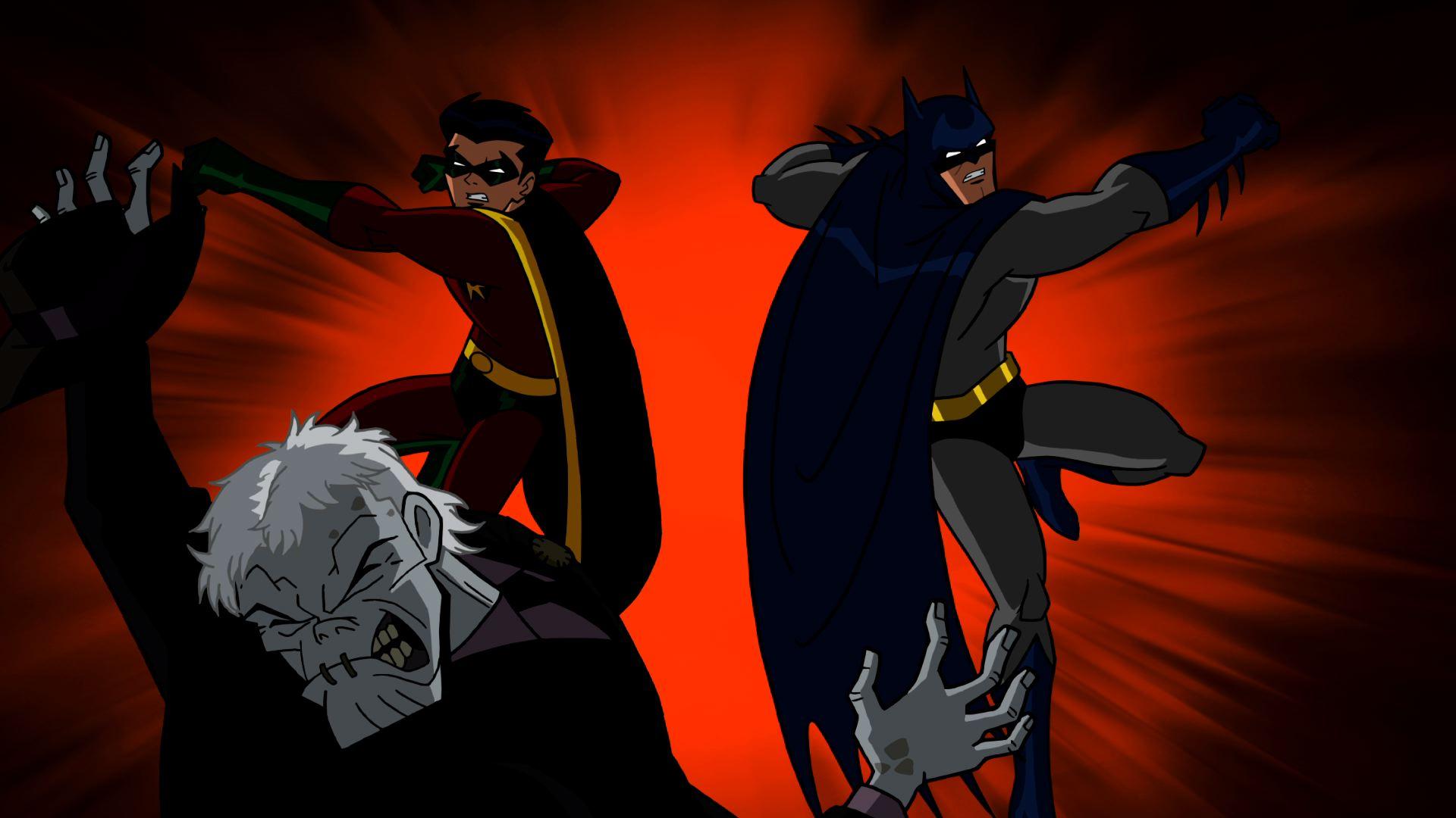dick grayson y damian wayne como batman y robin en the